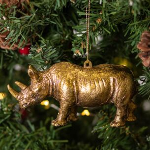Gold Acrylic Rhino Tree Decoration