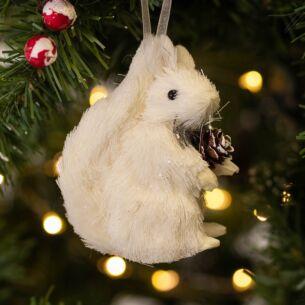 White Bristle Squirrel Tree Decoration