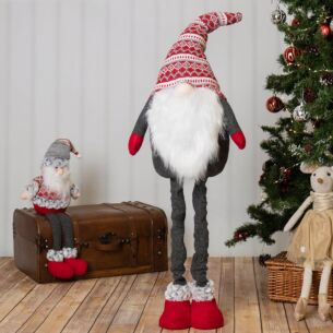Grey and Red Nordic Santa with Extending Legs