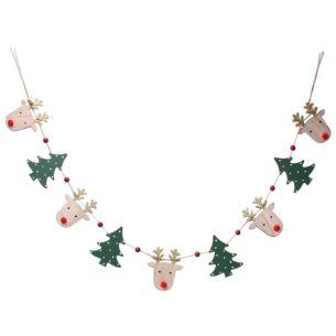 Wooden Deer Head and Christmas Tree String Garland