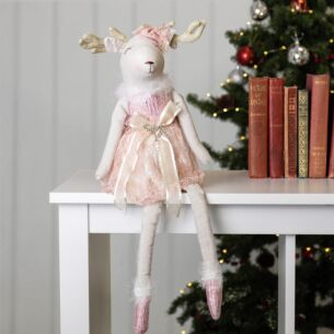 Fabric Reindeer in Pink Dress Ornament