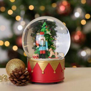Christmas Tree and Nutcracker Musical Snow Dome Decoration