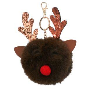 Faux Fur Reindeer Head Key Ring