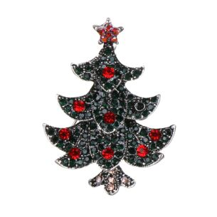 Christmas Tree Metal and Diamante Brooch