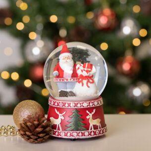 Santa with Sack Musical Snow Globe