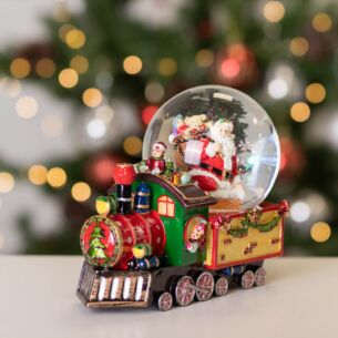 Resin Train with Santa Musical Snow Dome Decoration