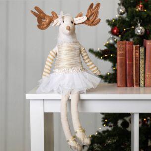 Fabric Gold Ballerina Reindeer Ornament