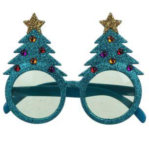Turquoise Glitter Christmas Tree Glasses