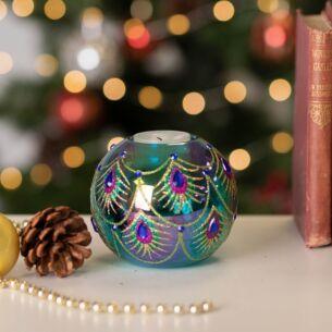 Glass Peacock Design Tea Light Holder