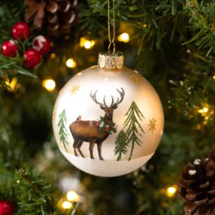 Gold Stag In Winter Scene Glass Bauble