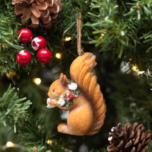 Assorted Resin Squirrel with Floral Wreath Tree Decoration