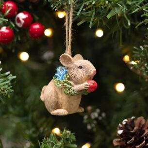 Assorted Resin Mouse with Floral Wreath Tree Decoration