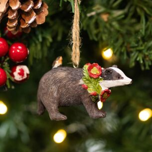 Assorted Resin Badger with Floral Wreath Tree Decoration