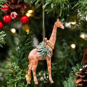 Assorted Resin Giraffe with Leaves Tree Decoration
