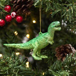 Assorted Glitter Dinosaur Acrylic Tree Decoration