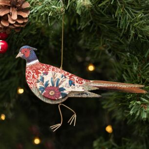 Assorted Arts & Crafts Wooden Pheasant Tree Decoration