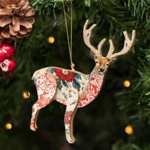 Assorted Arts & Crafts Wooden Stag Tree Decoration