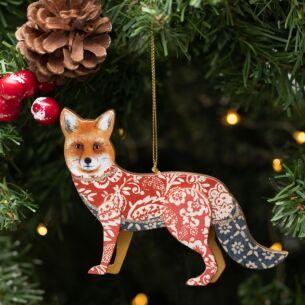 Assorted Arts & Crafts Wooden Fox Tree Decoration