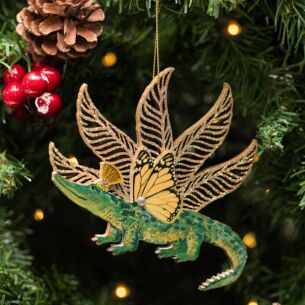 Assorted Green Wooden Crocodile with Glitter Tree Decoration