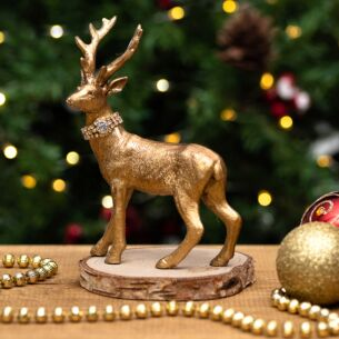 Small Gold Resin Stag with Diamante Collar Christmas Ornament
