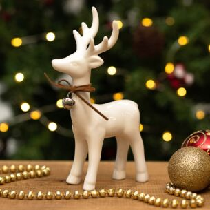 Assorted Large White Ceramic Reindeer with Bell Decoration