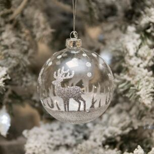 Clear Glass Bauble with Silver Stag Glitter Decoration