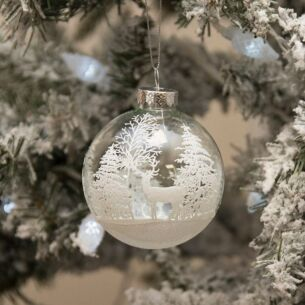 Clear Glass Bauble with White Trees & Stag Design