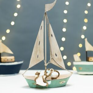 Gisela Graham Aqua Tin Sailing Boat Ornament