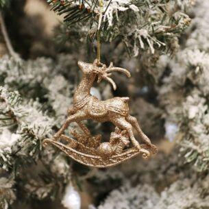 Pale Gold Glitter Rocking Reindeer Tree Decoration