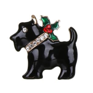Black Dog Metal and Diamante Brooch