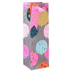Paper Salad Pink Balloons Bottle Gift Bag