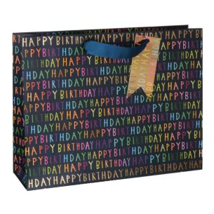 Paper Salad Blue Birthday Script Landscape Large Gift Bag