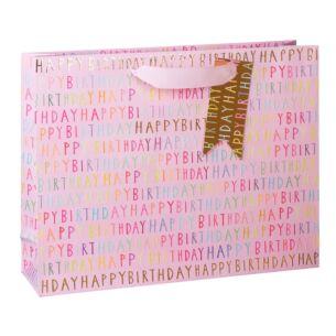 Paper Salad Pink Birthday Script Landscape Large Gift Bag