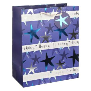 Happy Birthday Stars Blue Large Gift Bag