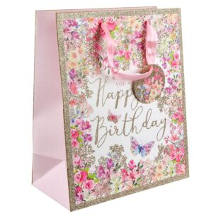 Pizazz Happy Birthday Floral Medium Gift Bag