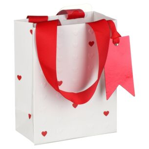 Embossed Hearts Small Valentines Gift Bag
