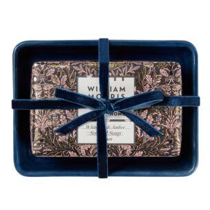 William Morris At Home White Iris & Amber Scented Soap & Ceramic Dish