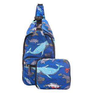 Blue Sea Creatures Recycled Foldaway Crossbody Bag