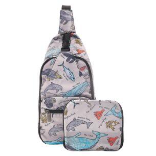 Eco Chic Grey Sea Creatures Foldaway Crossbody Bag