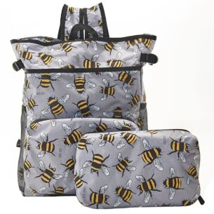 Eco Chic Grey Bumblebees Foldaway Cooler Backpack