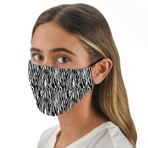 Snoozies Face Cover with Flexible Nose Bridge – Zebra