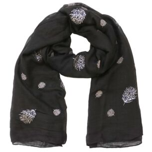 Glitter Leaves Black Scarf