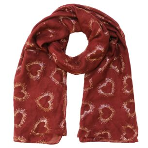 Hollow Foil Hearts Burgundy Scarf
