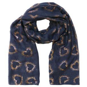 Hollow Foil Hearts Navy Scarf