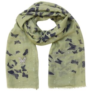 Butterfly Green Scarf & Brooch Set