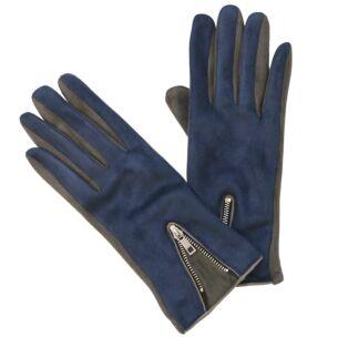 Modern Zipped Navy & Grey Boxed Gloves