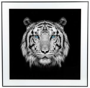 Large Monochrome Tiger Print with Black Frame