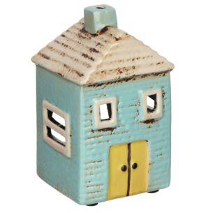Village Pottery Turquoise House Tealight Holder