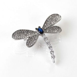 Equilibrium Glitzy Dragonfly White Gold Plated Brooch