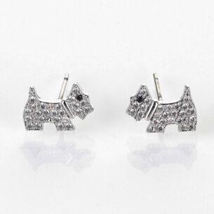Pavé Westie Platinum Plated Stud Earrings